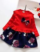 olcso Lány ruhák-Gyerekek Lány Édes aranyos stílus Virágos Kollázs Hosszú ujj Térd feletti Ruha Fehér