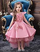 povoljno Beba & Djeca-Djeca Djevojčice Aktivan slatko Jednobojni Čipka Kratkih rukava Midi Haljina Blushing Pink