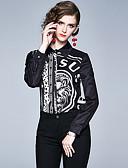 billige Tights til damer-Skjorte Dame - Polkadotter / Dyr / Bokstaver, Lapper / Trykt mønster Vintage / Elegant Svart