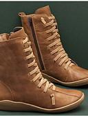 Χαμηλού Κόστους Μπούρκα-Γυναικεία Μπότες Παπούτσια άνεσης Επίπεδο Τακούνι Στρογγυλή Μύτη PU Μπότες στη Μέση της Γάμπας Φθινόπωρο & Χειμώνας Μαύρο / Καφέ / Πράσινο