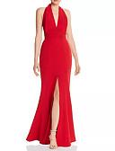 Χαμηλού Κόστους Βραδινά Φορέματα-Ίσια Γραμμή Δένει στο Λαιμό Μακρύ Πολυεστέρας Κομψό Επίσημο Βραδινό Φόρεμα 2020 με Που καλύπτει / Με Άνοιγμα Μπροστά