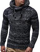 olcso Férfi pólók és kardigánok-Férfi Egyszínű Hosszú ujj EU / USA méret Pulóver Pulóver jumper, Kapucni Tél Fekete / Teveszín US36 / UK36 / EU44 / US38 / UK38 / EU46 / US40 / UK40 / EU48