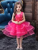 olcso Lány ruhák-Gyerekek Lány Aktív Édes Egyszínű Strassz Hímzett Többrétegű Ujjatlan Térdig érő Ruha Világoskék