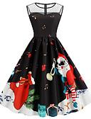 ราคาถูก ชุดเดรสวินเทจ-สำหรับผู้หญิง ปาร์ตี้ วินเทจ พื้นฐาน สวิง แต่งตัว - ลายพิมพ์, Snowflake ยาวถึงเข่า ซานตาคลอส