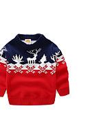 tanie Swetry i kardigany dla chłopców-Dzieci Dla chłopców Podstawowy Nadruk Święta Długi rękaw Sweter i kardigan Żółty