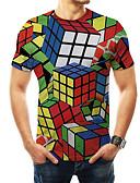 billige T-skjorter til damer-T-skjorte Herre - 3D / Regnbue / Grafisk, Trykt mønster Grunnleggende / overdrevet Magiske kuber Regnbue
