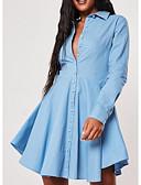 ราคาถูก ชุดเดรสวินเทจ-สำหรับผู้หญิง สง่างาม รูปตัว เอ แต่งตัว สีพื้น เหนือเข่า