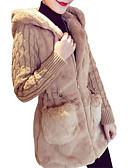 olcso Női szőrme és műszőrme kabátok-Női Egyszínű Anorák, Poliészter Fehér / Szürke / Khakizöld S / M / L