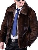olcso Férfi dzsekik és kabátok-Férfi Napi Ősz & tél Szokványos Faux Fur Coat, Egyszínű Lehajtott gallér Hosszú ujj Műszőrme Barna