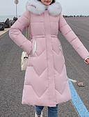olcso Női hosszú kabátok és parkák-Női Egyszínű Pehely, Poliészter Fekete / Fehér / Dusty Rose M / L / XL