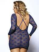 billige Robes & Sleepwear-Dame Store størrelser Sexy Dress Nattøy - Ensfarget, Blonde / Krysstropper i ryggen