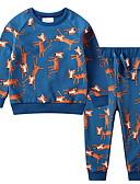 ราคาถูก ชุดเสื้อผ้าเด็กผู้ชาย-Toddler เด็กผู้ชาย พื้นฐาน ลายดอกไม้ ลายพิมพ์ แขนยาว ฝ้าย ชุดเสื้อผ้า สีน้ำเงิน