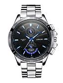 ราคาถูก นาฬิกาข้อมือหรูหรา-สำหรับผู้ชาย นาฬิกาตกแต่งข้อมือ นาฬิกาอิเล็กทรอนิกส์ (Quartz) สแตนเลส เงิน noctilucent ระบบอนาล็อก แฟชั่น สีสัน - สีดำ ขาว