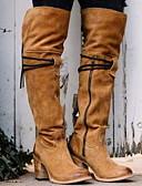 billige Bluser-Dame Støvler Over-The-Knee Boots Tykk hæl Rund Tå Semsket lær Lårhøye støvler Høst vinter Svart / Gul / Rød