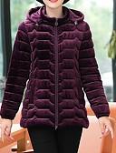 olcso Női hosszú kabátok és parkák-Női Egyszínű Kosaras, Poliészter / POLY / Pleuche Fekete / Bor / Bíbor XL / XXL / XXXL