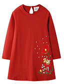 cheap Girls' Dresses-Kids Girls' Floral Christmas Dress Red