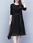 olcso Női ruhák-Női Utcai sikk Elegáns A-vonalú Ruha - Pliszé, Egyszínű Térdig érő