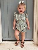 billige Babydrakter-2pcs Baby Jente Aktiv Blomstret Åpen rygg / Blondér Ermeløs Endelt Grønn