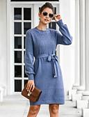 Χαμηλού Κόστους Sweater Dresses-Γυναικεία Κομψό στυλ street Γραμμή Α Πλεκτά Φόρεμα - Μονόχρωμο Πάνω από το Γόνατο