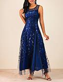 cheap Women's Blouses-Women's Maxi A Line Dress - Floral Navy Blue Gray S M L XL