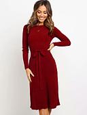 olcso Női ruhák-Női Boho Hüvely Ruha - Fűzős, Egyszínű Midi