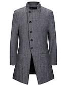 olcso Férfi dzsekik és kabátok-Férfi Napi EU / USA méret Hosszú Kabát, Egyszínű Állógallér Hosszú ujj Poliészter Szürke / Khakizöld