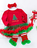 povoljno Kompletići za bebe-Dijete Djevojčice Aktivan Print / Božić Dugih rukava Haljina Obala / Dijete koje je tek prohodalo