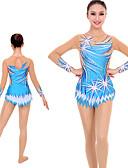 povoljno Teretana-Triko za ritmičku gimnastiku Trikoi za ritmičku gimnastiku Žene Djevojčice Triko za vježbanje Sky blue Spandex Visoka elastičnost Ručno izrađen Jeweled Izgled dijamanta Dugih rukava Natjecanje