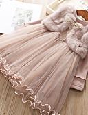 Χαμηλού Κόστους Γυναικεία Πουλόβερ-Παιδιά Κοριτσίστικα Συνδυασμός Χρωμάτων Μακρυμάνικο Ως το Γόνατο Φόρεμα Ανθισμένο Ροζ