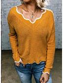 olcso Női pulóverek-Női Egyszínű Hosszú ujj Pulóver Pulóver jumper, V-alakú Fekete / Arcpír rózsaszín / Sárga S / M / L