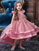 olcso Lány ruhák-Gyerekek Lány Aktív Édes Egyszínű Strassz Hímzett Rövid ujjú Aszimmetrikus Ruha Bor