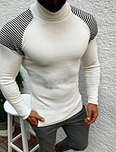 cheap Men's Tees & Tank Tops-Men's Striped Long Sleeve Pullover Sweater Jumper, Turtleneck Black / White US32 / UK32 / EU40 / US34 / UK34 / EU42 / US36 / UK36 / EU44
