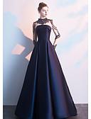 baratos Vestidos de Noite-Linha A Gola Alta Longo Poliéster / Tule Estilo Celebridade / Inspiração Vintage Evento Formal Vestido 2020 com Miçangas /   Ilusão