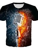 baratos Camisetas & Regatas Masculinas-Homens Camiseta Básico / Exagerado Estampado, Geométrica / Estampa Colorida / 3D Preto