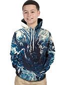 billige Gensere og hettegensere til damer-Barn Baby Gutt Aktiv Grunnleggende BLå & Hvit Geometrisk Galakse Fargeblokk Trykt mønster Langermet Hettegenser og sweatshirt Blå