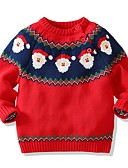 Недорогие Свитера и кардиганы для мальчиков-Дети Мальчики Классический Геометрический принт Рождество Длинный рукав Свитер / кардиган Красный