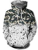 olcso Férfi pólók és pulóverek-Férfi Alkalmi / Utcai sikk Kapucnis felsőrész Színes / 3D / álcázás