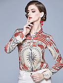 baratos Camisas Femininas-Mulheres Camisa Social Vintage Estampado, Geométrica Branco Vermelho