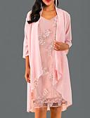 ราคาถูก เสื้อยืดสำหรับสุภาพสตรี-สำหรับผู้หญิง สง่างาม รูปตัว เอ แต่งตัว สีพื้น ยาวถึงเข่า คอวี
