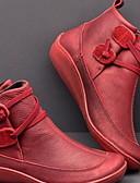 olcso Leggingek-Női Csizmák Kényelmes cipők Lapos Kerek orrú PU Bokacsizmák Ősz & tél Barna / Piros / Kék