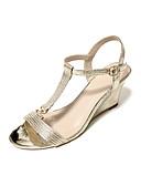 ราคาถูก นาฬิกาข้อมือ-สำหรับผู้หญิง รองเท้าแตะ รองเท้าส้นตึก ปลายกลม Synthetics ฤดูร้อน สีทอง / สีเงิน