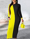 baratos Vestidos Longos-Mulheres Básico Bainha Vestido Estampa Colorida Longo