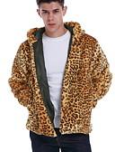 ราคาถูก แจ็กเก็ต &เสื้อโค้ทผู้ชาย-สำหรับผู้ชาย ทุกวัน ฤดูใบไม้ร่วง & ฤดูหนาว ปกติ Faux Fur Coat, ลายเสือ ฮู้ด แขนยาว ขนสัตว์เทียม สีเหลือง