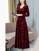 olcso Maxi ruhák-Női Bő A-vonalú Ruha Egyszínű Maxi V-alakú