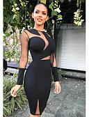 olcso Női ruhák-Női Alap Bodycon Ruha Egyszínű Térdig érő