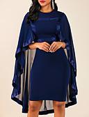 Χαμηλού Κόστους Print Dresses-Γυναικεία Μεγάλα Μεγέθη Για τη μητέρα Θήκη Φόρεμα - Μονόχρωμο Ως το Γόνατο Στρογγυλή Ψηλή Λαιμόκοψη