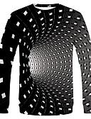 Χαμηλού Κόστους Ανδρικά μπλουζάκια και φανελάκια-Ανδρικά Μέγεθος EU / US T-shirt Βασικό / Κομψό στυλ street Πουά / Houndstooth / Μονόχρωμο Στρογγυλή Λαιμόκοψη Μαύρο / Μακρυμάνικο