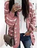 povoljno Ženske kaputi od kože i umjetne kože-Žene Prugasti uzorak Dugih rukava Širok kroj Kardigan Džemper od džempera, V izrez Blushing Pink / Plava / Sive boje S / M / L