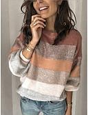 olcso Női szőrme és műszőrme kabátok-Női Csíkos Hosszú ujj Pulóver Pulóver jumper, Kerek Arcpír rózsaszín S / M / L