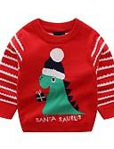 cheap Women's Blouses-Kids Boys' Basic Print Christmas Long Sleeve Sweater & Cardigan Red